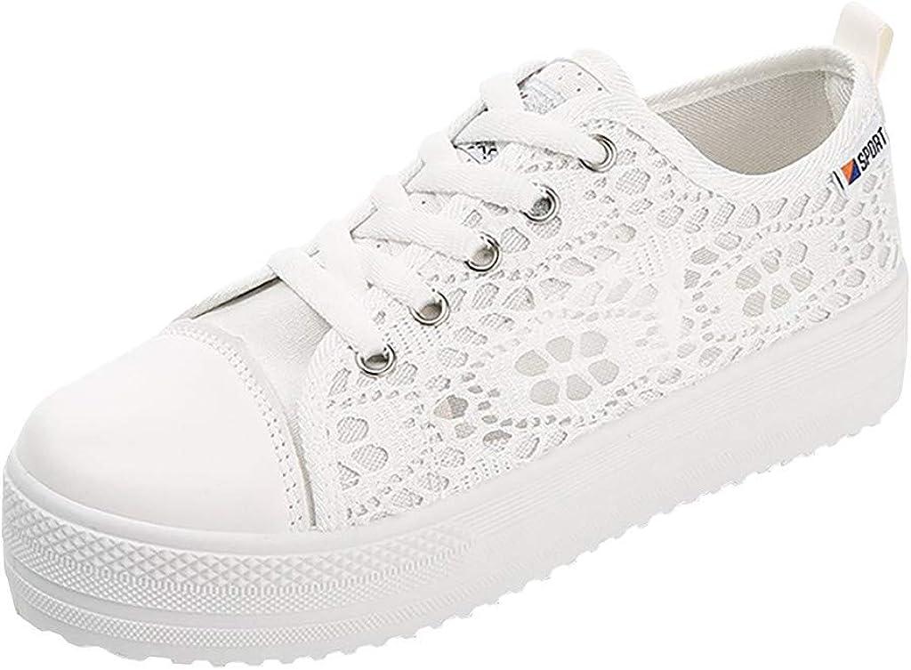 ZARLLE Zapatillas Planos con Cordones para Mujer Zapatillas de Deporte Salvajes Zapatillas Deportivas Tela Transpirable de Encaje Hueca de Gran tamaño de Malla Plataforma Zapatos Planos