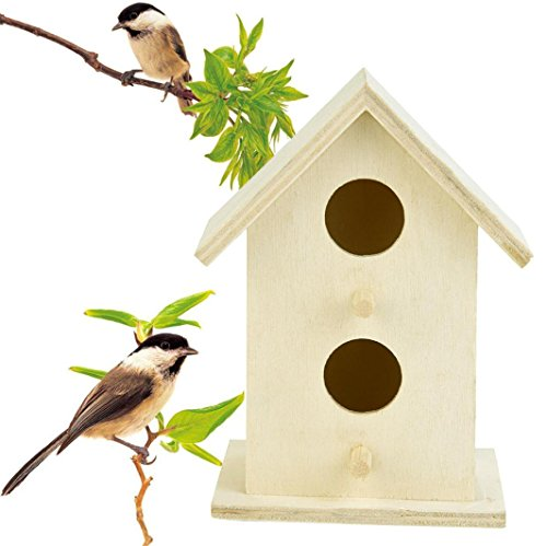 Loneflash Wooden Bird House, Outside/Indoors/Hanging | Kits for Children & Adults | Decorative Birdhouse & Home Decoration | Outdoors Feeder for Birds, Bluebirds, Wrens & Chickadees