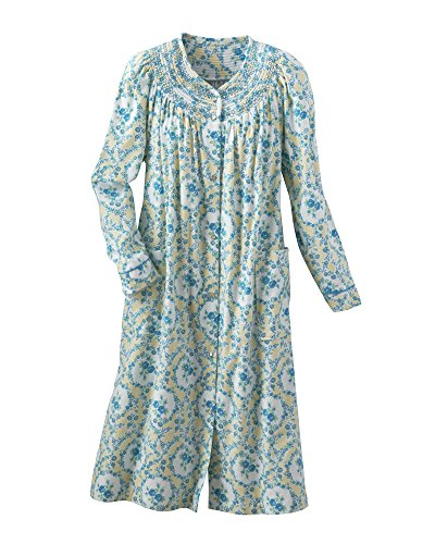 Gathered Robe (National Blossom Flannel Duster, Teal Floral, Medium)