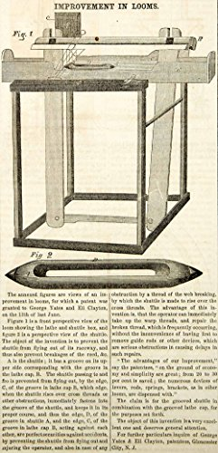1854 Wood Engraving Antique Loom Shuttle Box Weaving Victorian Invention YSA2 - Original In-Text Wood Engraving