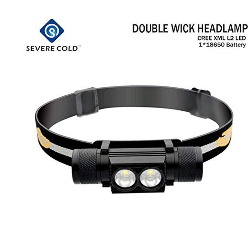 6000lm USB wiederaufladbar Stirnlampe 2X Cree LED Alu wasserdicht LI-Akku extrem robust super hell