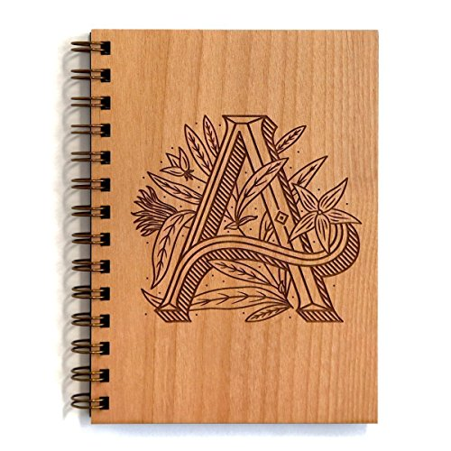 Floral Monogram A Initial Laser Cut Wood Journal - Multiple Letters Available (Notebook/Birthday Gift/Gratitude Journal/Mother's Day Gift/Handmade) ()