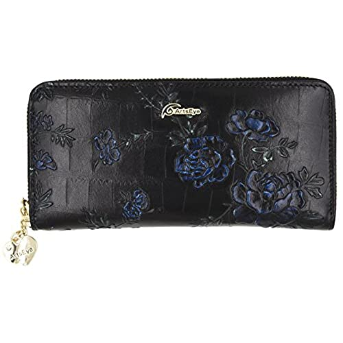 84a223e95fab ArcEnCiel Long Leather Clutch Wallet Card Holder Purse Handbag with  Wristlet (Black Beauty) 30