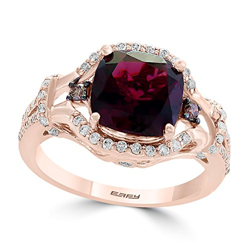 Effy Bordeaux 14K Rose Gold Rhodolite Garnet and Diamond Ring, 3.91 TCW ()