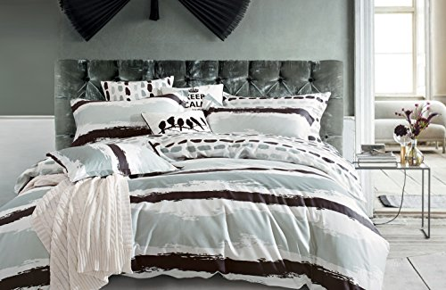 Creative Logan 3PC 100% Cotton Reversible Duvet Cover Set, Full/Queen