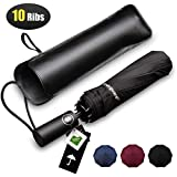 Bodyguard Windproof Travel Umbrella, 10 Ribs Folding Umbrella with Teflon Coating, Auto Open and Close Compact Umbrella with Gift Leather Case