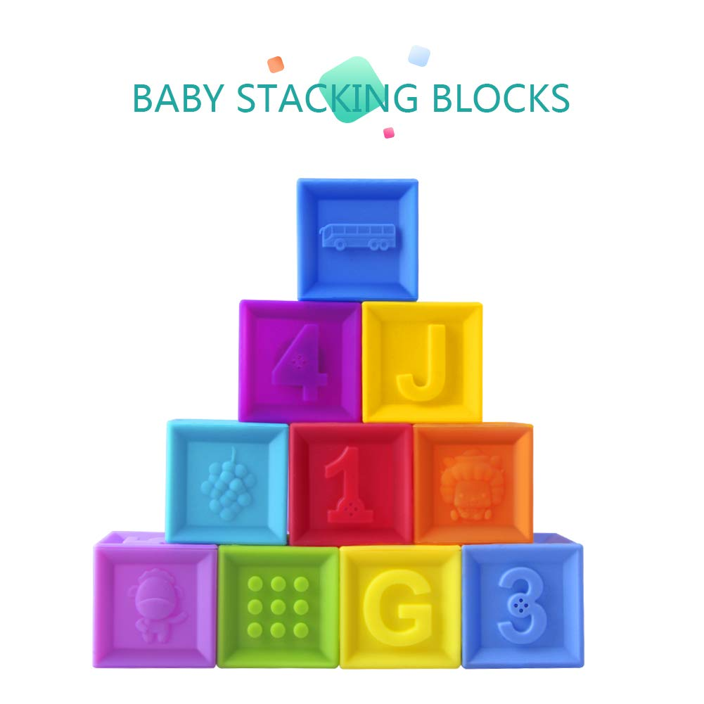 Joso Baby Blocks, Soft Stacking Blocks Squeeze Building Blocks for Toddlers - Teething Chewing Toys Educational Baby Bath Play with Numbers, Shapes, Animals & Textures for Age 4-12 Months - BPA Free