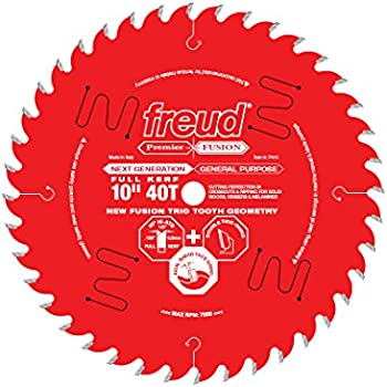 """Freud 10"""" x 40T Next Generation Premier Fusion General Purpose Blade for Crosscuts (3/8"""" to 3-1/2"""") & Rips (3/4"""" to 1-1/2"""") wood, laminate, veneered plywood, hardwoods & melamine. (P410)"""