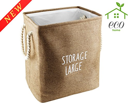 Rectangular Storage Organizer Cube Large Deppened Foldable Basket Collapsible Bin With Handles Brown
