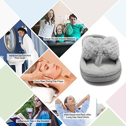 f2842ae698908 CIOR FANTINY Women s Cozy Memory Foam Spa Thong Flip Flops House Indoor  Slippers Plush Gridding Velvet ...