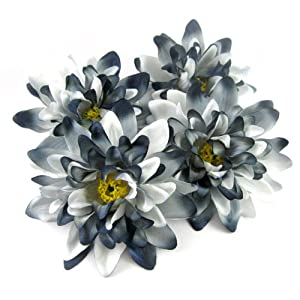 "(4) Black White Silk Dahlia Flower Heads - 4"" - Artificial Flowers Dahlias Head Fabric Floral Supplies Wholesale Lot for Wedding Flowers Accessories Make Bridal Hair Clips Headbands Dress 54"