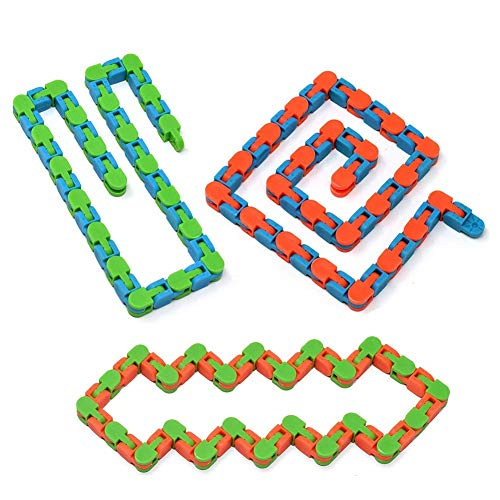 3 Track Color - Novelty Toy(Package of 3),Wacky Tracks Snap n Click Fidget Toy for Kids,Snake Puzzles,Great Sensory Toy, Helpful for ADHD ADD OCD Autism (Assorted Colors)