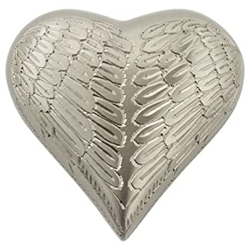 Silverlight Urns Angel Wings Pewter Keepsake Urn, Heart Shaped Mini Urn for Ashes, Brass with Silver Finish, 3 Inches High