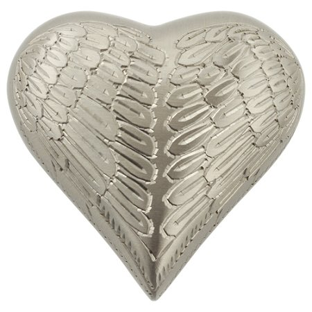 Pewter Keepsake - Silverlight Urns Angel Wings Pewter Keepsake Urn, Heart Shaped Mini Urn for Ashes, Brass with Silver Finish, 3 Inches High