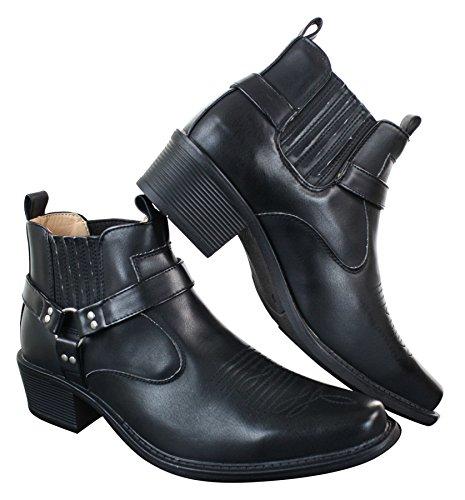 Classique Herrenstiefel Braun Holzbraun Schwarz Boots Slip On Design Western Stil