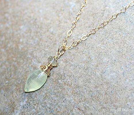 Collar Prehnite, aguamarina de musgo, joyería de piedras preciosas, joyas Prehnite, chapado en oro, collar de piedras preciosas azules verdes de 40,6 cm.