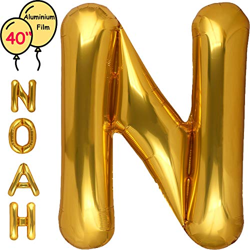 Large 40 Inch Giant Gold Letter Balloon Birthday Party Decorations-Mylar Foil Big Alphabet Helium Balloon ... (Letter N) -
