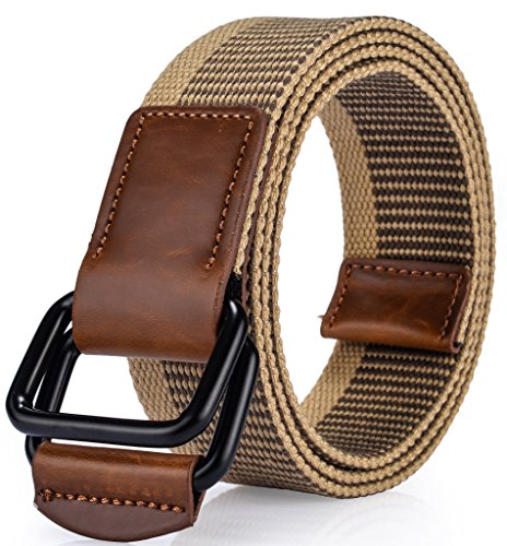 Ayli Men's Braided Canvas Belt Synthetic Leather Tip, Doulbe Ring Metal Buckle, Khaki - bt6a006kh (Ring Cinch Belt)