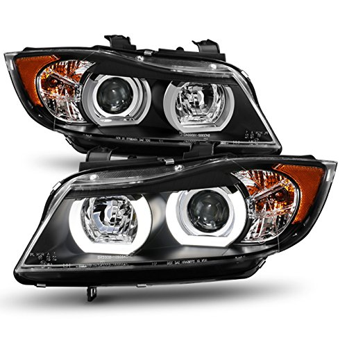 For BMW E90 3-Series 4 Doors Sedan Black Housing Factory HID Type Dual U-Halo Ring LED Projector Headlights -
