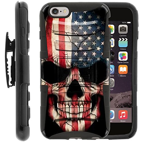 TurtleArmor | Apple iPhone 6 Plus Case | iPhone 6s Plus Case [Hyper Shock] Hybrid Dual Layer Armor Holster Belt Clip Case Kickstand - US Flag Skull