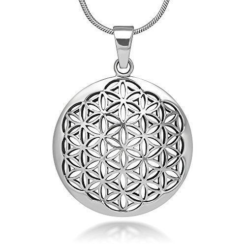 Chuvora 925 Sterling Silver Flower of Life Mandala 27 mm Circle Round Charm Pendant Necklace, 18 inches