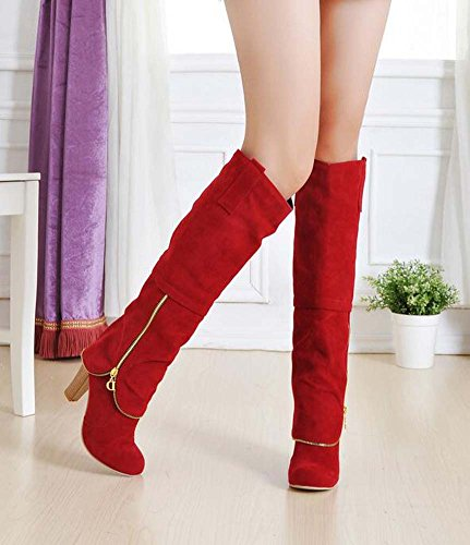 8cm Color 32 High Knight Round Women Boots Charming 43 Toe Red Eu Chunkly Heel Dress Pure Zipper Size Boot Knee Boots UE7pxd7
