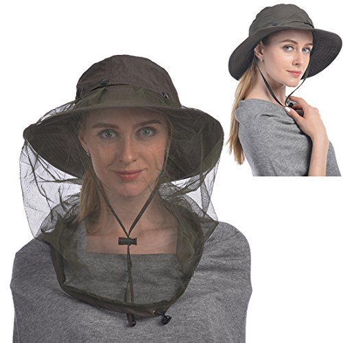 (UShake Mosquito Head Net Hat, Safari Hat Sun Hat Bucket Hat with Hidden Net Mesh Protection from Insect Bug Bee Mosquito Gnats for Outdoor Lover Men or Women-Green)