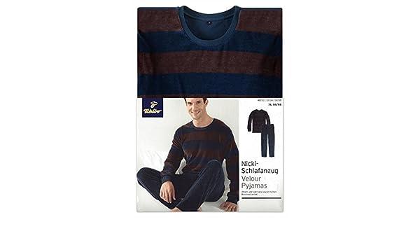 Tchibo TCM Nicki pijama para hombre, colour marrón-azul marino, color - Braun-Marine, tamaño L 52/54: Amazon.es: Deportes y aire libre