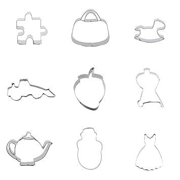 9 piezas de cortador de galletas, falda de galletas para vestido de muñeco de nieve