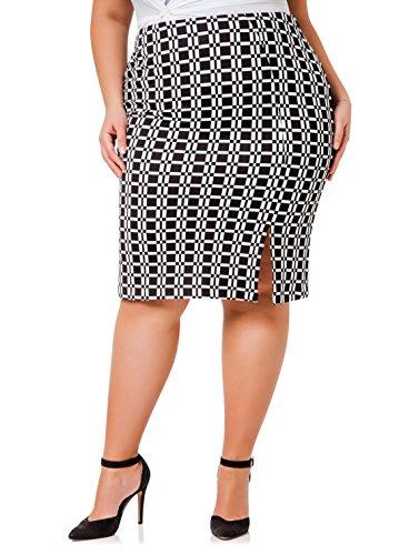 Ashley Stewart Women's Plus Size Patterned Pencil Skirt - Size: 18, Color: Black/White