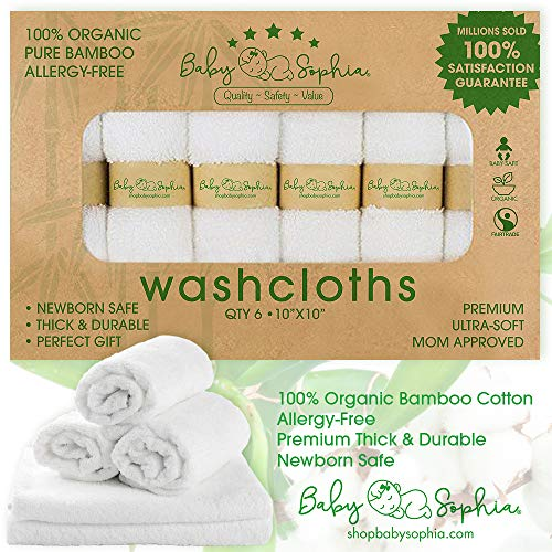 Bamboo Baby Washcloths -100% Natural Bamboo Fibers   Ultra Soft Hypoallergenic   Qty 6   No Added Chemicals   Perfect for Sensitive Skin   Large Premium Wash Cloth Measure 10 X 10   Set of 6 White