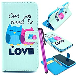 """BeeShine Retail Package Flip Style PU Leather Stand Card Holder iPhone 6 4.7"""""""" Leather Wallet Case Flap Pouch Cover Skin Protector for Apple iPhone 6 (4.7 inch) + Screen Protector & Touch Stylus Pen (Lovely need love Owl Couple Pattern)"""