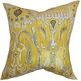 The Pillow Collection Haestingas Ikat Floor Pillow Yellow