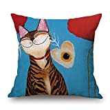 Viola North Cat Throw Pillow Case Best Choice For Deck Chair Car Seat Boys Father Dance Room Bf With Both Sides