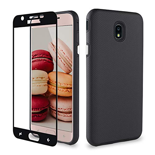 Samsung Galaxy J7 2018 Case/J7 Aero/J7 Star/J7 Refine/J7 Top/J7 Crown/J7 V 2nd Gen Case with Tempered Glass Screen Protector, ipush Full Body Protective Shockproof Case Cover for Samsung J7 V (Black)