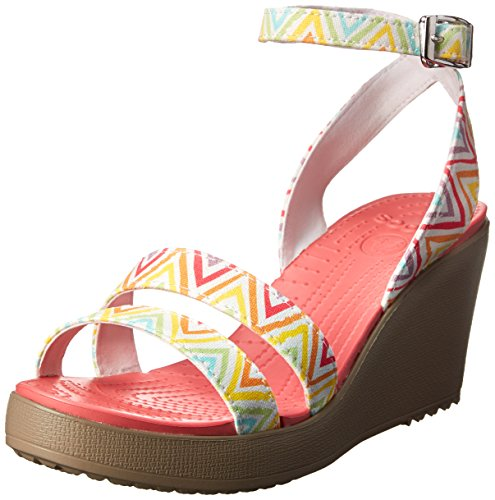 Crocs Womens Women's 15313 Leigh Graphic Wedge Pump,Multi/Mushroom,6 M US