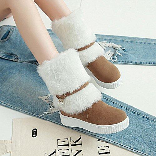 Dark Boots Faux Latasa Women's Flat Yellow Snow Fur YYXOwx