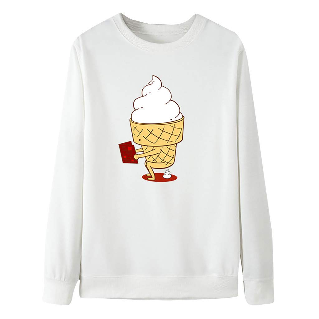 Women Cute Ice Cream Print Long Sleeves Pullover O-Neck Sweatshirt Blouse Tops by Badymin