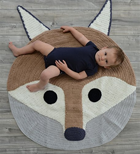 Fox Playmat Handmade From Softest Cottons for Baby in Fun Designs Crochet Blanket (Beige) by La Seuler
