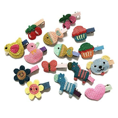 Rimobul 15 PCS Handmade Crocheted Animal Theme Mini Hair Clips for Kids (Animal Theme)