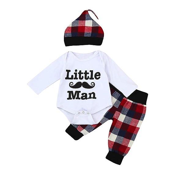 Bestow Carta Barba túnicas de impresión + Pantalones a Cuadros Baby Romper + Pantalones + Trajes de Sombrero: Amazon.es: Ropa y accesorios
