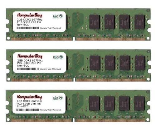 Komputerbay 6GB ( 3 x 2GB ) DDR2 DIMM (240 PIN) AM2 667Mhz PC2 5400 / PC2 5300 FOR MSI K9N2GM-FIH 6 GB