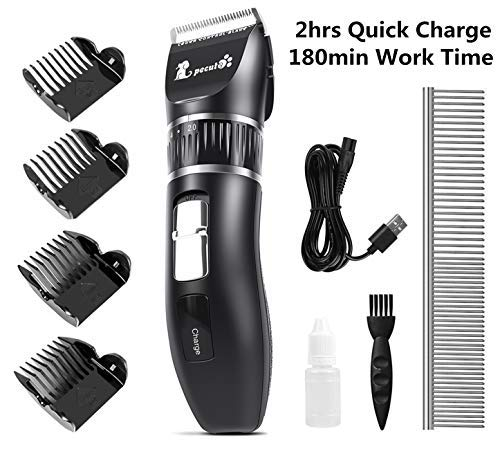Pecute Dog Clippers, 2hrs Quick Charge, 180min Work Time, Stainless Steel Ceramic Blade, Detachable Battery Professional Pet Clipper for Dogs Cats Pets Grooming