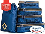 Compression Packing Cubes Luggage Organizers for Travel With Double Zipper (5) Set - Water Resistant Packing Squares