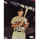Braves Legend Eddie Mathews Signed 8x10 Photo Holding Bat - JSA Certified Authentic