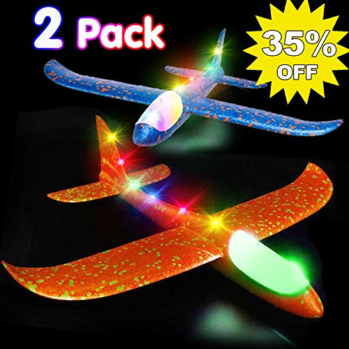 "Airplane Toys Throwing Foam Plane, 13.5"" Inch LED Light Up Glider Airplane Model Toy with Dual Flight Mode Challenging Outdoor Plane Jet Sports Game Flying Toys Gift for Kids Toddlers Teens (2 Pack)"
