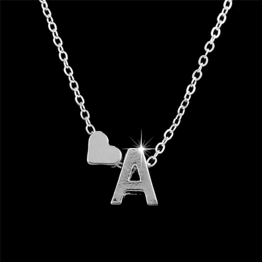 Iuhan Simple Fashion Women Girls Gift 26 English Letter Name Chain Pendant Necklaces (B, A)