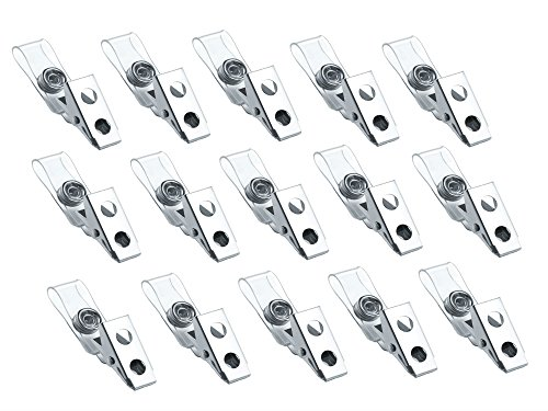 Metal Badge Clips with Clear Vinyl Strap, ID Badge Clip, 100 Pack]()