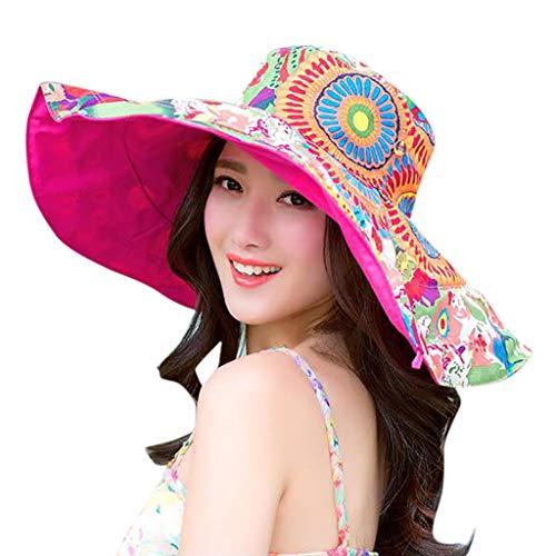 TOTOD Sunhat for Women - Boho Print Beach Cap Two-Side Big Brim Straw Sun Hat Floppy Wide Brim Hats Hot Pink -