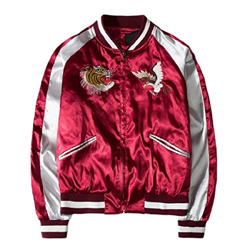 Retro Satin College Men's Jacket Fashion RkBaoye Embroidered Red Zip SwWFnfnZAq